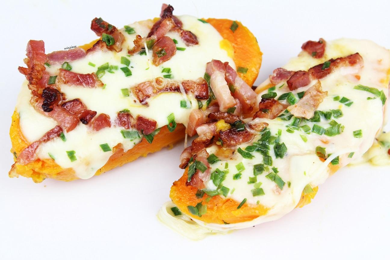 Suesskartoffel Bacon Mozzarella
