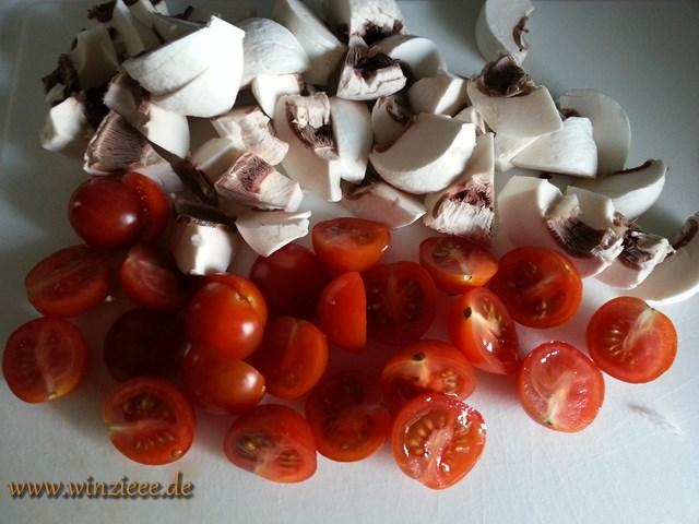 Tomaten und Champignons